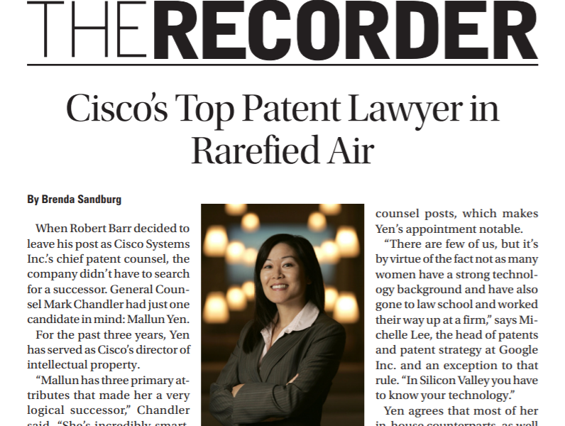 Cisco's Top Patent Lawyer in Rarified Air