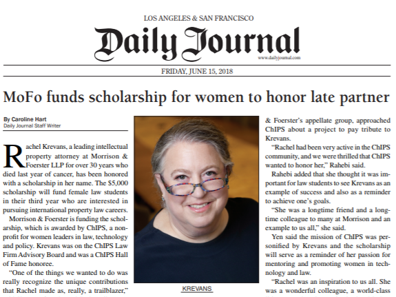 Rachel Krevans Scholarship Featured in the SF Daily Journal